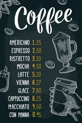 Restaurant or cafe menu coffee drinck with price.
