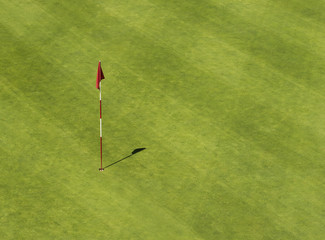 Golf hole with flag from above
