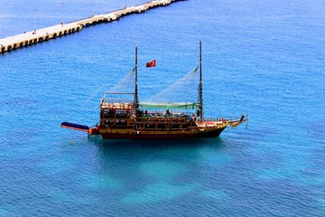 Pleasure sailing vessel for sea excursions on the Turkish Riviera (Antalya, Turkey).