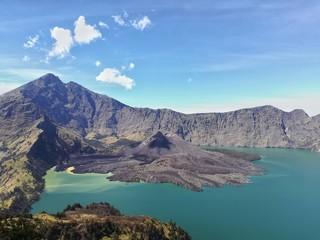 mountain Rinjani and lake at Lombok, Indonesia