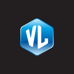 Initial letter VL, modern glossy hexagon logo, gradient blue color on black background