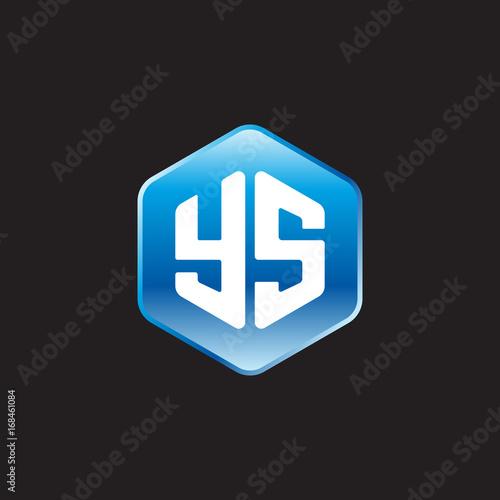 Initial letter YS, modern glossy hexagon logo, gradient blue