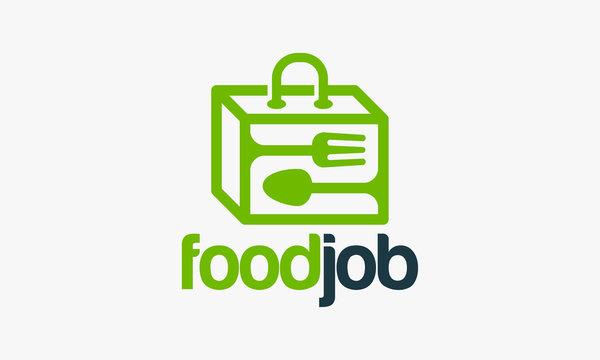 Food Job Logo designs, Food Suitcase logo template vector illustration