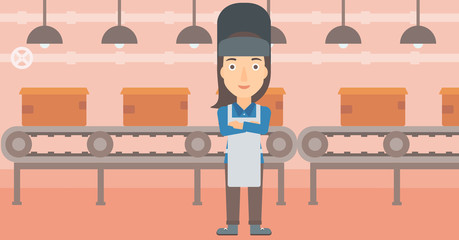 A welder on the background of factory workshop with conveyor belt vector flat design illustration. Horizontal layout.