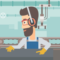 A hipster man with the beard working on a steel-rolling mill on the background of factory workshop with conveyor belt vector flat design illustration. Square layout.