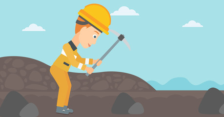 A woman working with a pickaxe on the background of coal mine vector flat design illustration. Horizontal layout.
