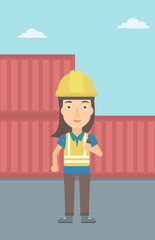 A woman talking to a portable radio on cargo containers background vector flat design illustration. Vertical layout.