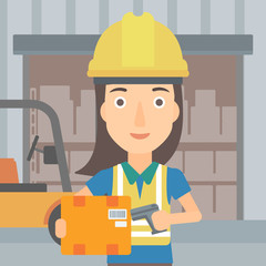 A woman checking barcode of a box with a scanner on the background of cardboard boxes in warehouse vector flat design illustration. Square layout.