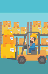 A hipster man with the beard moving load by forklift truck on the background of warehouse vector flat design illustration. Vertical layout.