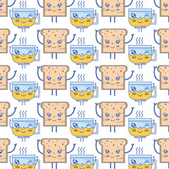 kawaii cute happy bread and coffee cup background