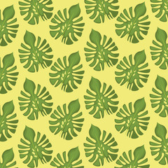 pattern color set decorative of palm green leaves vector illustration