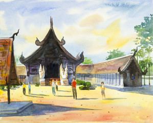 Painting colorful of temple and emotion in blue background