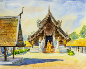 Watercolor landscape original  painting colorful of trees in temple