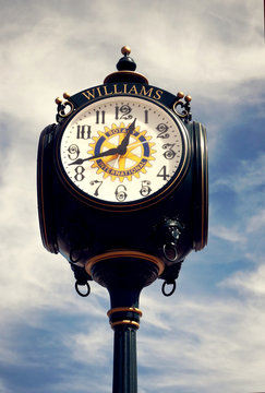 Clock in center of town on Route 66 in Williams, AZ