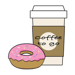 Coffee to go and donut illustration vector on white background.