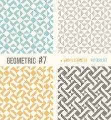 Set of four abstract geometric backgrounds. Seamless vector patterns. Yellow and grey, teal colors.