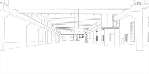 Industrial buildings. Vector