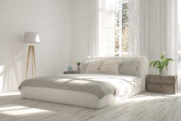 Idea of white modern bedroom. Scandinavian interior design. 3D illustration