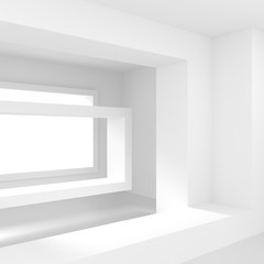 White Empty Room with Window. Modern Interior Design