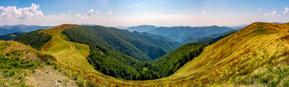 gorgeous panorama of alpine mountain ridge