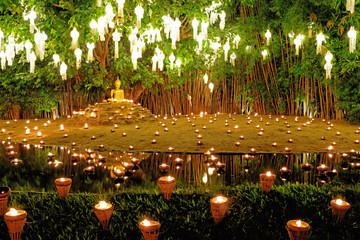Loy Krathong and Yee Peng, Festival of Lights in Wat Phan Tao, temple in Chiang Mai, Thailand