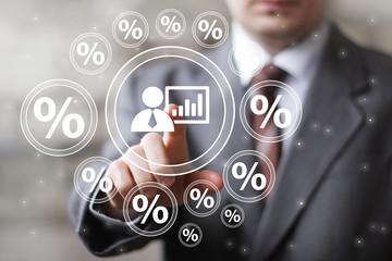 Businessman touch button interface group chart business diagram network percent.