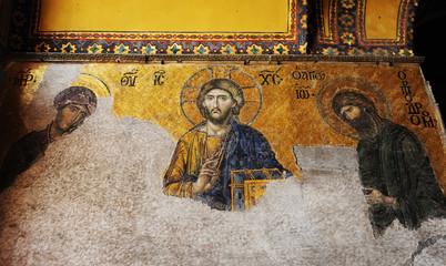 Byzantine frescoes in Hagia Sophia