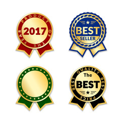 Ribbons award best seller set. Gold ribbon award icon isolated white background. Bestseller golden tag sale label, badge, medal, guarantee quality product, business certificate Vector illustration