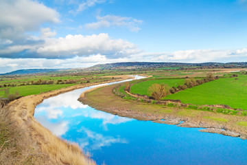 Photo sur Toile Riviere Scenery of Shannon river in Ireland
