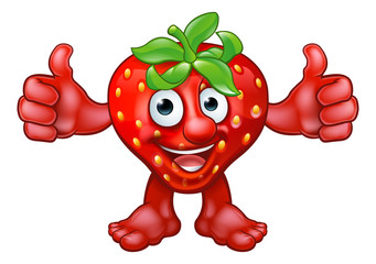 Cartoon Strawberry Fruit Mascot Character