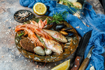 Fresh seafood on stone table