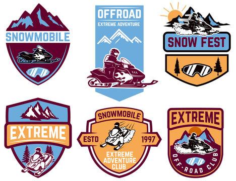 Set of snowmobile emblems isolated on white background. Design element for label, brand mark, sign, poster. Vector illustration