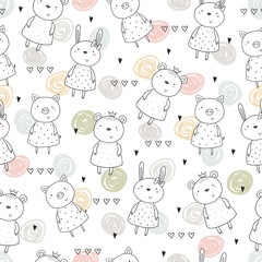Seamless pattern with cute little animal. vector illustration