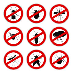 Set sign ban anti mosquito - vector for stock