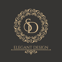 Monogram from intertwining letters SD