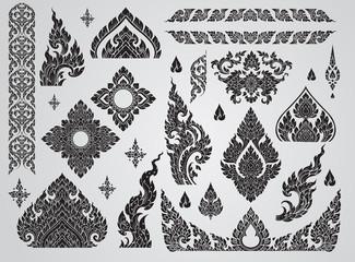 Set of Thai art element, Decorative motifs. Ethnic Art, icon vector Wall mural