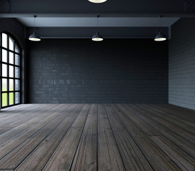 Blank wall in empty room with windows