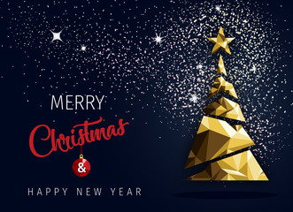 Merry christmas happy new year golden triangle tree low poly. christmas tree, design, vector illustration. Creative Christmas tree.