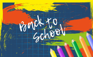 Design template Back to School for banner or poster. Abstract colorful background with cell and pencil. Vector