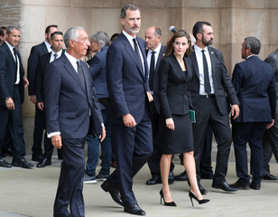 Portuguese president Marcelo Rebelo de Sousa, King Felipe of Spain and his wife Letizia are seen leaving after the High mass in the Basilica of the Sagrada Familia in memory of the victims of the van attack at Las Ramblas in Barcelona