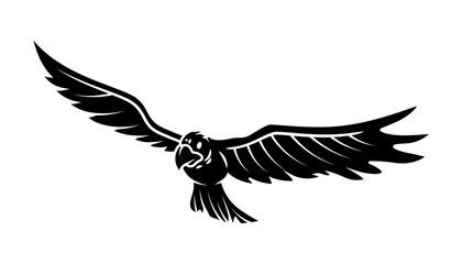 Flying Hawk Vector Silhouette