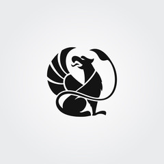 Vector logotype griffin in circle