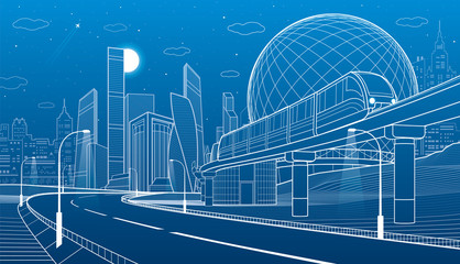 City infrastructure and transport illustration. Monorail railway. Train move over flyover. Spherical building. Modern night city. Airplane fly. Towers and skyscrapers. White lines. Vector design art