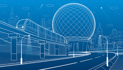 City infrastructure and transport illustration. Monorail railway. Train move over flyover. Spherical building. Modern night city. Airplane fly. White lines on blue background. Vector design art