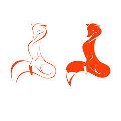 Image of a red fox on white background, two variants, vector illustration