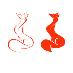 red fox on white background, two variants, vector illustration