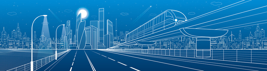 City infrastructure transport panorama. Monorail railway. Train move over flyover. Modern night city. Airplane fly. Towers and skyscrapers. White lines on blue background, vector design art