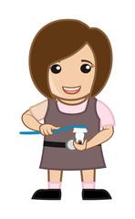 Small Cartoon Girl Cleaning Teeth