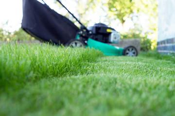 Rasen mähen / grüner Rasen und Rasenmäher