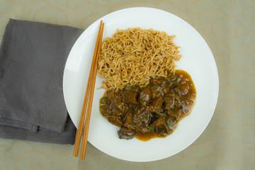 sauté de boeuf aux poivrons et curry